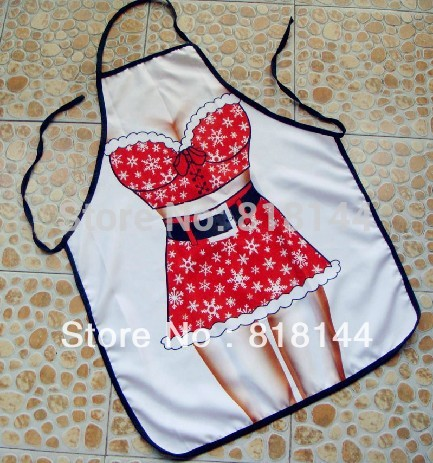 Free Shipping Hot Sale New Style Christmas Woman Apron Novelty Funny Sexy Aprons Party Products Festival Gift Kitchen Cute(China (Mainland))