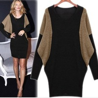 Free Shipping Dresses New Fashion 2014 Band Autumn Winter Women's Larger Size Loose Lnitted Batwing Long Sleeve One Piece Dress