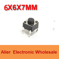 DIP 6*6*7 6X6X7 MM Tactile Tact Push Button Micro Switch Momentary  Four Pin For Electronic Device FREE SHIPPING SW003
