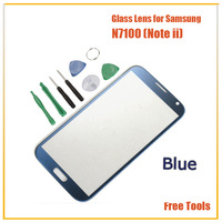 Free Shipping High Quality N7100 LCD Touch Screen Glass Lens Blue Replacement for Samsung Galaxy Note ii Front Screen Glass