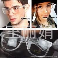 Fashion Transparent frame Men And Women Eyewear UV 400 Rivet Box Glasses(With lens) Wholesale Free Shipping