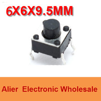 DIP 6*6*9.5 6X6X9.5 MM Tactile Tact Push Button Micro Switch Momentary  Four Pin For Electronic Device FREE SHIPPING SW021