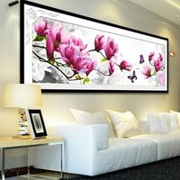Print 3d cross stitch flower big picture 3d cross-stitch butterfly + Magnolia denudata print 125 *45cm living room decroation