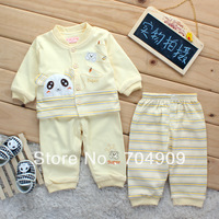 Double layer 100% children's cotton infant clothing autumn outerwear 0-1 year old baby boy three pieces set kids baby clothes
