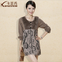 Card 2013 autumn and winter plus size high waist o-neck sweater noble elegant wool cashmere one-piece dress