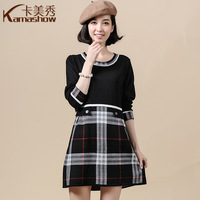 Card 2013 autumn and winter fashion women's fashion plaid sheep wool knitted short skirt slim one-piece dress