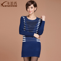 Card 2013 autumn women's wool short skirt slim hip diamond stripe one-piece dress