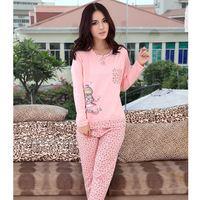 2013 autumn female sleepwear the appendtiff 100% long-sleeve cotton pink casual print o-neck pullover cotton lounge set