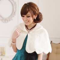 F~3XL!! New Arrival Ladies Fashion Plus Size All-match Fur Elegant Cape White Evening Party Bridal Wraps