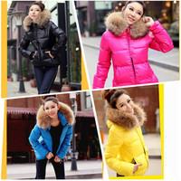 2014 Fashion Women Ladies Winter Clothes Color Thick Down Coat Hoodies Zipper Jacket Outerwear Woman Fur Collar Jackets Parka
