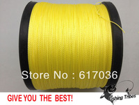 Free shipping 100% pe  braided fishing line yellow 1500yards   8LB 10LB15LB20LB30LB40LB50LB65LB80LB100LB