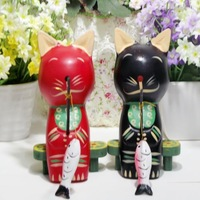 Fashion modern lovers decoration wooden cat decoration new home lucky cat gift