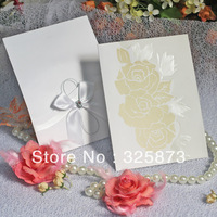 10pcs/lot Rose Embossing and Hot Stam Printing Paper Traditional Chinese Wedding Invitation Card  With Ribbon and Diamond T130