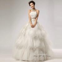 new 2014 White Sexy Off shoulder flower bride wedding dress lace bridal gown princess dress brief gothic vintage wedding dresses