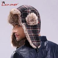 Retail Hot!! Free Shipping Winter Super Warm Men And Women's Helmet Cap Lovers' Plaid Trapper Cap Earcuff Bomber Hat
