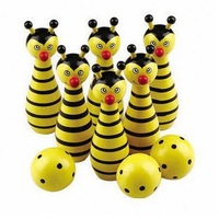 Hot sale baby educational toys child wood toys small bee bowling toy set bowling ball game toys for 1-3 years free shipping TY01