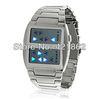 2013 New Hot Selling Fashion Templar Blue Light Steel Band Digital LED Wrist Watch With Date Christmas Gift Free Shipping