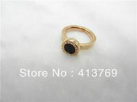 18k rose gold plated rings black epoxy resin rings stainless steel ring