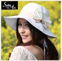 Hat female bow summer sun hat folding anti-uv sunbonnet large beach cap sun