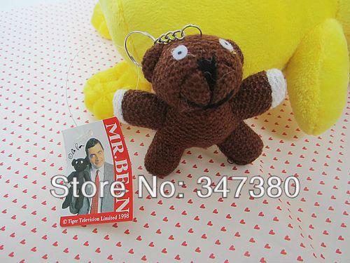 "Hot Sale Discount Mr Bean Teddy Bear Plush Toy Keychain 3.5"" mini plush animals Bear Animal Stuffed 50pcs/Lot Free Shipping(China (Mainland))"