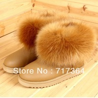 2013 New Arrival free shipping Leia fox fur  female short snow boots