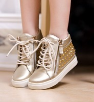2013 free shipping new arrival Gz gold leather rivet side zipper high-top shoes elevator shoes platform casual female shoes