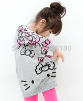 New arrvials 5pcs/lot cartoon kitty design girls long sleeve t-shirt/ spring autumn top clothing+free shipping