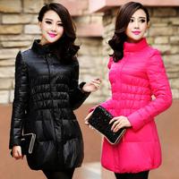 Women's fashion elegant stand collar slim medium-long down coat female