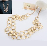 Min order is $10(mix order)Fashion brief metal water ripple necklace quality coarse chain necklaces women jewelry XL113