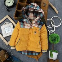 2013 New children baby boy's korean styling autumn winter thicken warm fleece lining hoodies outerwear coat cotton-padded jacket