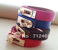 Free shipping+newly arrived  two way leather H Bracelet with 14k gold logo multicolor  fashion 2013