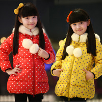 2013 female child wadded jacket winter cotton-padded jacket child design long cotton-padded jacket cotton-padded jacket