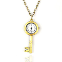 Medium key pocket watch long necklace vintage accessories fashion pocket watch necklace