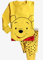 Hot Retail Baby & Kids bear cartoon Pajamas sets Boys  Suit set Girls blouses+ pants 2-piece sets 2-7T