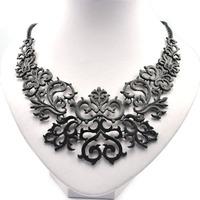 Hot metal necklace retro pattern black seduction exaggerated necklace short necklaces