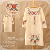 2013 fresh national embroidery trend sweet lacing three quarter sleeve one-piece dress
