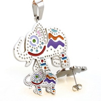 Free Shipping Christmas Gift Multicolor Stainless Steel Cartoon Elephant Pendant Earrings Cheap Animal Jewelry Sets Wholesale