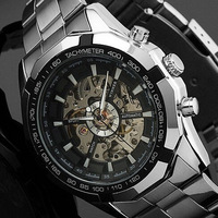 Luxury Mens Skeleton Automatic Mechanical Watch Winner Brand Stainless Steel Band Watches Free shipping
