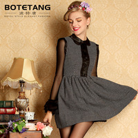 Porter 2013 autumn one-piece dress black and white plaid one-piece dress elegant formal ol slim one-piece dress