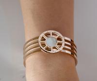 Lightning shipment gold filled bangles white pearl shell inlaid bracelet rose gold titanium steel jewelry women gift wholesale