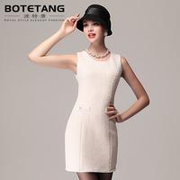 Porter 2013 autumn and winter women o-neck slim waist slim hip woolen one-piece dress female tank dress