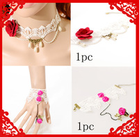 Lace Collar Necklace Pearl Red Rose Necklace With Pink Rose Ring Chain  Bracelet Jewelry Set For Wedding Free Shipping