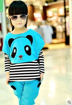 Children's clothing  spring new girls baby casual two-piece fashion sets kids T-shirt and pants suits free shipping