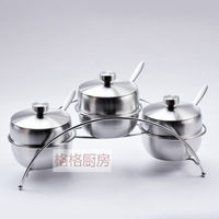 Thick fashion stainless steel spice jar set sauce pot kitchen seasoning box sambonet seasoning bottle