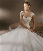 New wedding dress white/ivory Organza Applique V Neck Fashion Bridal Gown