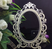 High End 5X7 Inch Mounted Oval Metal Cosmetic Mirror Lot Silver Magnetic Retro Cosmetic Mirror W/ Collage Rhinestones