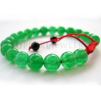 Free Shipping! 8mm Green Jade Tibetan Buddhist Mala Meditation Bracelet SBR125