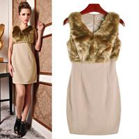Ladies Elegant V-neck tank dress rabbit fur patchwork sleeveless one-piece dress women's autumn slim hip dresses