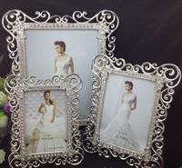 High End 8X10 Inch Sided Rectangle Metal Wedding Frames Silver Box Modern Picture Frame W/ Art Rhinestones