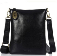 Genuine leather thin shoulder bag cowhide black messenger bag Men fashion casual commercial small bag d9216